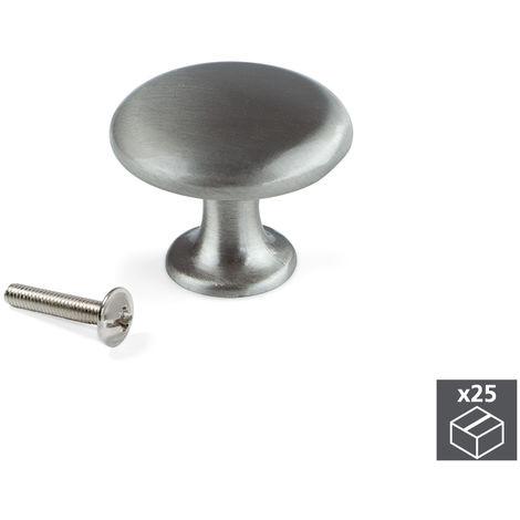 Emuca Pomo para mueble, D. 31 mm, Zamak, Níquel satinado, 25 ud.