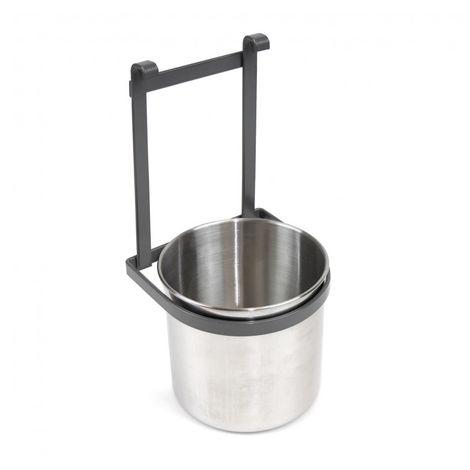 Emuca Portacubiertos de cocina, con cubo cromado, para colgar, acero, gris antracita.