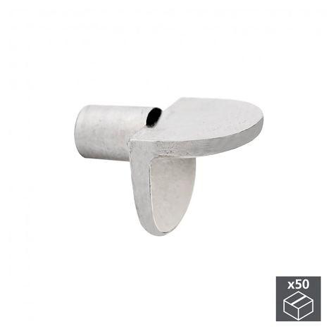 Emuca Portaestantes escuadra, con perno liso, D. 5 mm, Zamak, Niquelado, 50 ud.
