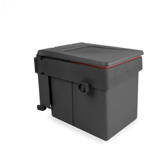 Emuca poubelle de recyclage, 15l, fixation sur porte, ouverture couvercle automatique, plastique, gris anthracite
