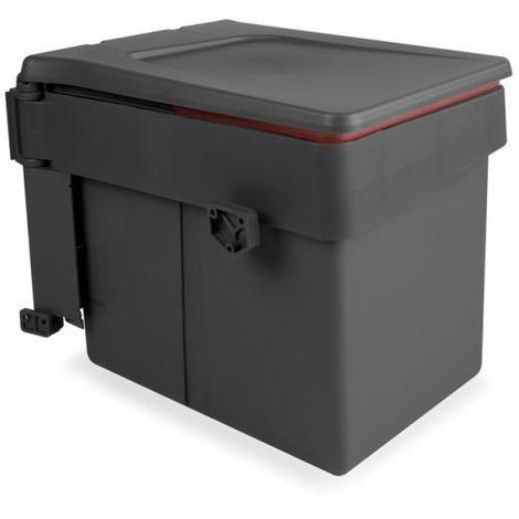 Emuca Poubelle de recyclage, 15L, fixation sur porte, ouverture couvercle automatique, Plastique, Gris anthracite - talla