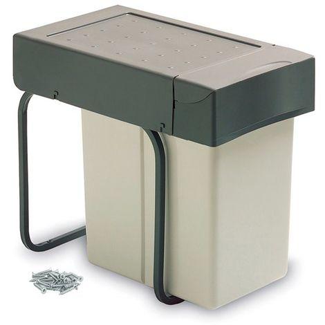 Emuca Poubelle de recyclage à fixation inférieure et extraction manuelle