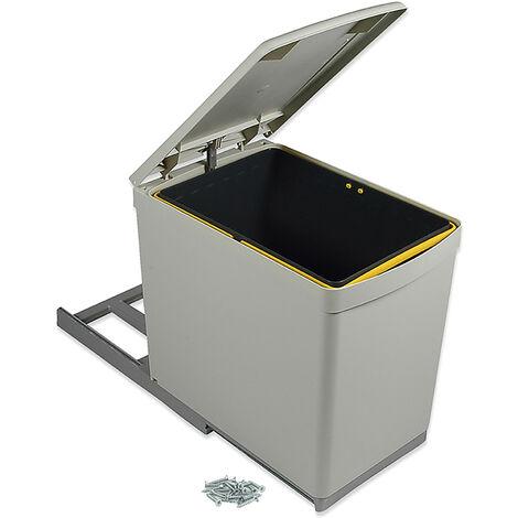 Emuca Poubelle de recyclage à fixation inférieure et extraction manuelle avec 1 conteneur de 16 litres et couvercle automatique