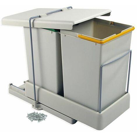 Emuca - Poubelle de recyclage, fixation inférieure, extraction et couvercle automatique, 2 conteneurs de 14 litres