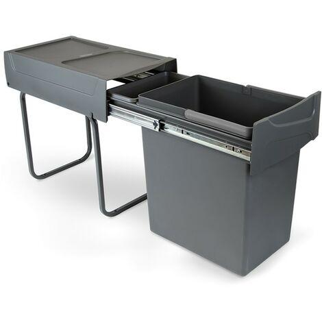 Emuca Poubelle de recyclage pour cuisine, 20L, fixation inférieure, extraction manuel, plastique, gris anthracite - talla