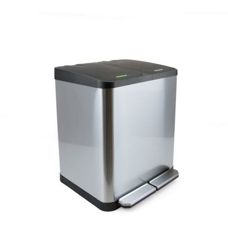 Emuca Poubelle extérieure à 2 compartiments de 15 litres, acier inoxydable - talla