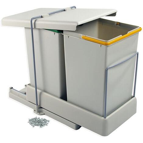 Emuca Poubelles de recyclage, fixation inférieure, extraction et couvercle automatique, 2 conteneurs de 14 litres - Plastique gris