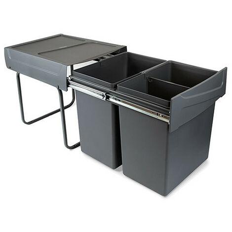 Emuca Poubelles de recyclage pour cuisine, 2x20 L, fixation inférieure, extraction manuel, plastique, gris anthracite - talla