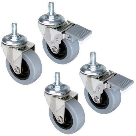 Emuca ruedas con perno m8, d.50 mm, acero y plástico, gris, 4 ud. - talla
