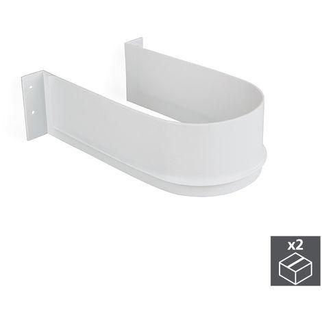 Emuca Salva sifón para cajón de baño, curvo, Plástico, Blanco, 2 ud.