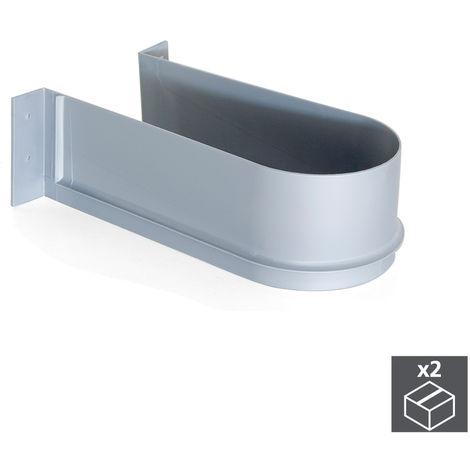 Emuca Salva sifón para cajón de baño, curvo, Plástico, Gris, 2 ud.