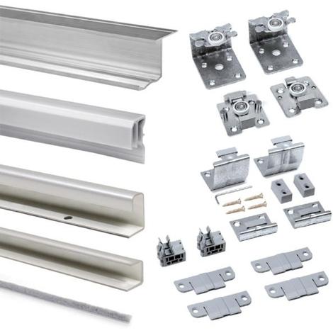 Emuca Sistema corredero para armario 2 puertas colgadas, espesor 16 mm, antidescarrilamiento, perfiles aluminio, Anodizado mate