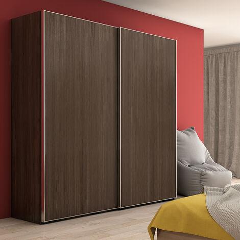 Emuca Sistema corredero para armario 2 puertas colgadas, espesor 19-20 mm, cierre suave, perfiles Aluminio, Anodizado mate - Anodizado mate