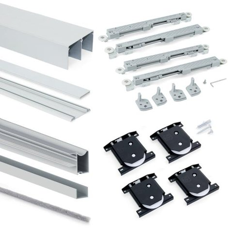 Emuca Sistema corredero para armario 2 puertas rodadura inferior, espesor 16 mm, cierre suave, perfiles aluminio, Anodizado mate