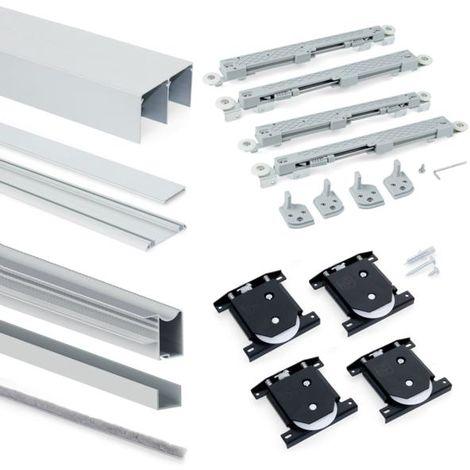 Emuca sistema corredero para armario 2 puertas rodadura inferior, espesor 16 mm, cierre suave, perfiles aluminio, anodizado mate - talla