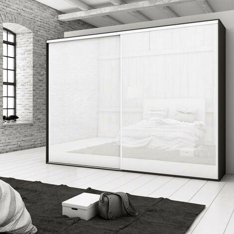 Emuca Sistema corredero para armario 2 puertas rodadura inferior, espesor 18 mm, cierre suave, perfiles aluminio, Anodizado mate