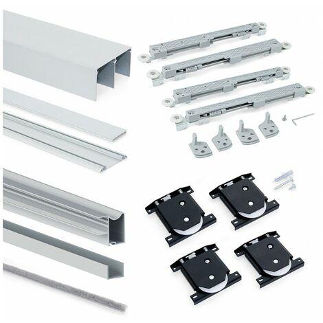 Emuca Sistema corredero Placard para armario 2 puertas rodadura inferior, espesor 16 mm, cierre suave, tableros no incluidos, perfiles aluminio, Anodizado mate