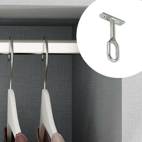 Emuca Soporte central para barra de armario, Zamak, Gris metalizado, 10 ud. - Pintado aluminio