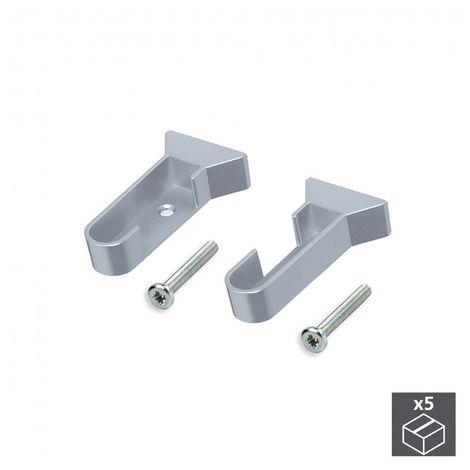 Emuca Soporte para barra de armario, Plástico, Gris metalizado, 5 ud. - Pintado aluminio
