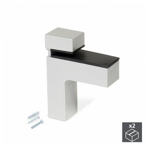 Emuca Soporte para estante de madera/cristal, espesor 4-38mm, Plástico y zamak, Gris metalizado, 2 ud.