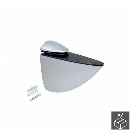 Emuca Soporte para estante de madera/cristal, espesor 5-40 mm, Plástico y zamak, Gris metalizado, 2 ud.