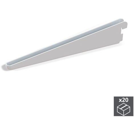 Emuca Soporte para estante de madera/cristal, perfil paso 32 mm, 320 mm, Acero, Blanco, 20 ud.