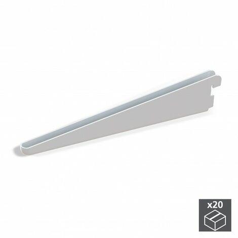 Emuca Soporte para estante de madera/cristal, perfil paso 32 mm, 470 mm, Acero, Blanco, 20 ud.