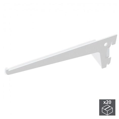 Emuca Soporte para estante de madera/cristal, perfil paso 50 mm, 250 mm, Acero, Blanco, 20 ud.