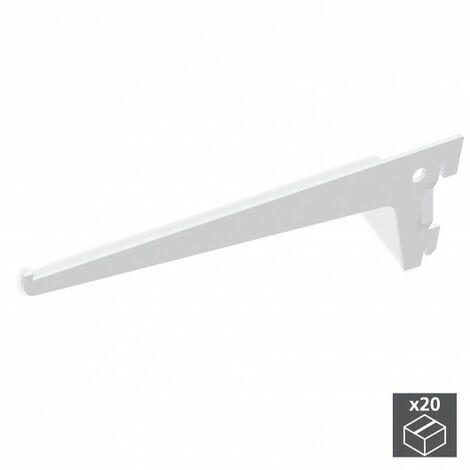 Emuca Soporte para estante de madera/cristal, perfil paso 50 mm, 350 mm, Acero, Blanco, 20 ud.