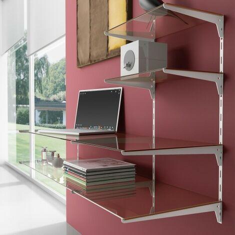 Emuca Soporte para estante de madera/cristal, perfil paso 50 mm, 400 mm, Acero, Blanco, 20 ud.
