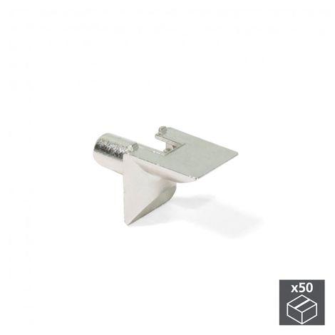 Emuca Soporte para estante de madera, D. 5 mm, Zamak, Niquelado, 50 ud.