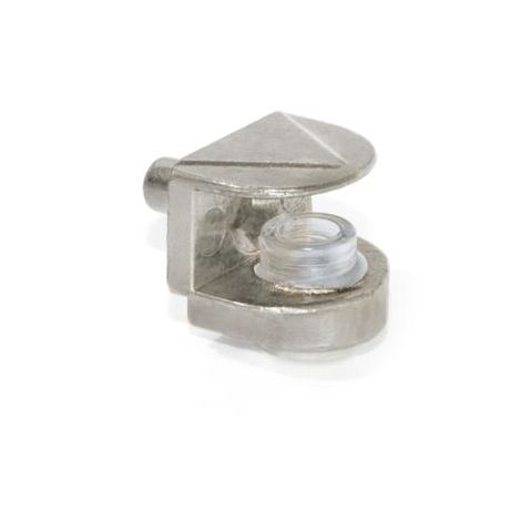 Emuca Support pour étagère en verre, D. 5 mm, Plastique et zamak, Nickelé, 50 ut. - talla