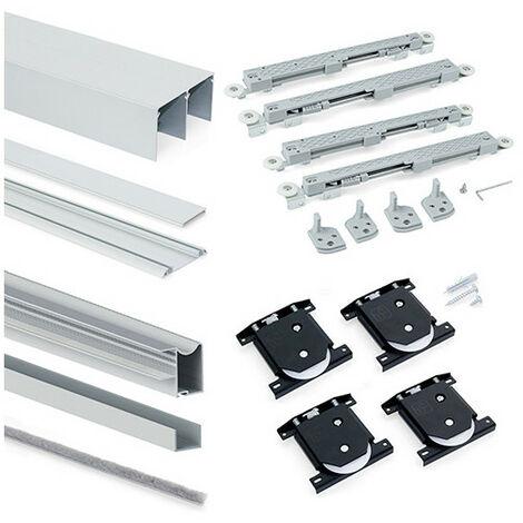 Emuca Système coulissant Placard pour armoires, 2 portes, épaisseur 16mm, fermeture amortie, panneaux non incluses,Anodisé mat - Anodisé mat