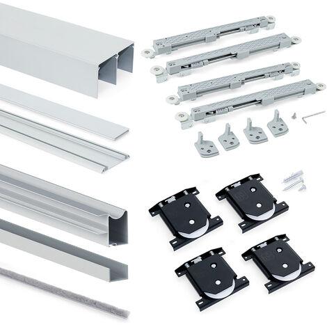 Emuca Système coulissant Placard pour armoires, 2 portes, épaisseur 18mm, fermeture amortie, panneaux non incluses,Anodisé mat
