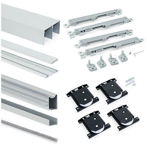Emuca Système coulissant Placard pour armoires, 2 portes, épaisseur 18mm, fermeture amortie, panneaux non incluses,Anodisé mat - Anodisé mat