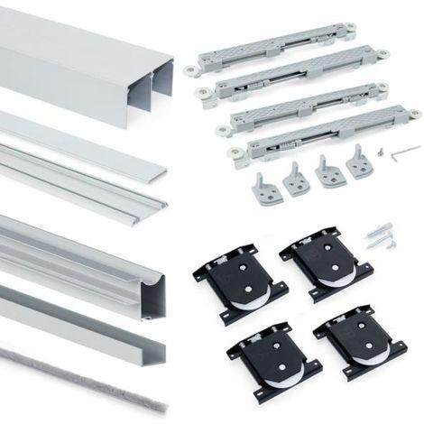 Emuca Système coulissant Placard pour armoires, 2 portes, épaisseur 18mm, fermeture amortie, panneaux non incluses,Anodisé mat - talla
