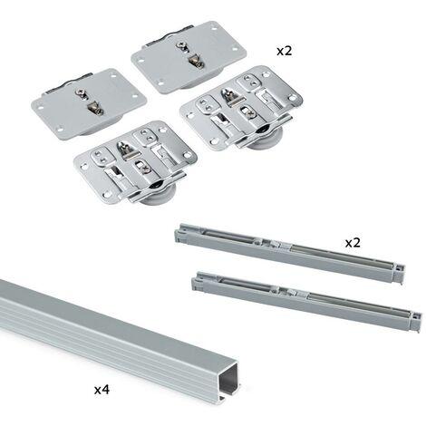 Emuca Système Flow pour 2 portes coulissantes en bois, fermeture amortie, panneaux non incluses, Acier et aluminium, anodisé - Anodisé mat