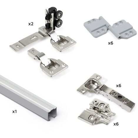 Emuca Système Twofold pour 2 portes coulissantes en bois pliantes, sans guide inférieur, fermeture amortie, aluminium anodisé - Anodisé mat