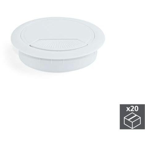 Emuca tapa pasacables circular, d. 60 mm, para encastrar, plástico, blanco, 20 ud. - talla
