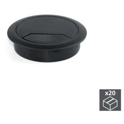 Emuca tapa pasacables circular, d. 60 mm, para encastrar, plástico, negro, 20 ud. - talla