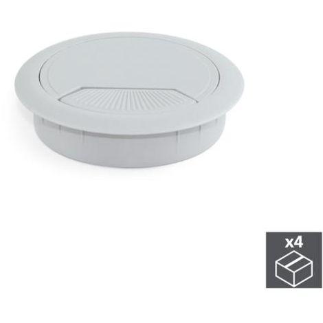 Emuca tapa pasacables circular, d. 80 mm, para encastrar, plástico, gris, 4 ud. - talla