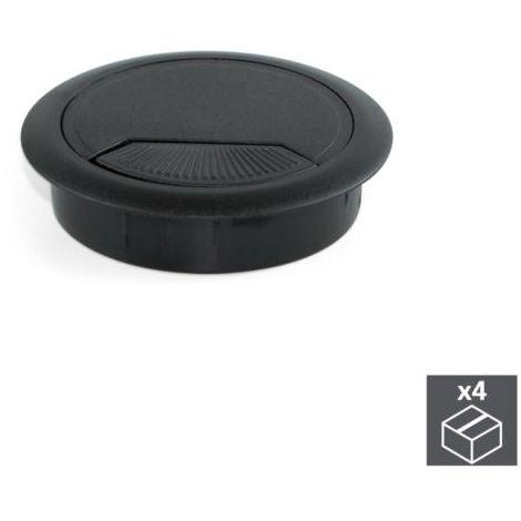 Emuca tapa pasacables circular, d. 80 mm, para encastrar, plástico, negro, 4ud. - talla