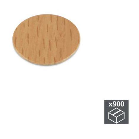 Emuca tapa tornillos, adhesiva, d. 20 mm, color haya, 900 ud. - talla