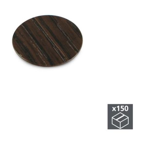 Emuca tapa tornillos, adhesiva, d. 20 mm, color wengué, 150 ud. - talla