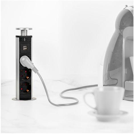 Emuca Tour de 3 prises Vertikal avec 2 ports USB, à encastrer, escamotable