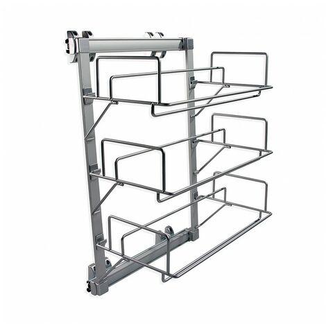 Emuca Zapatero extraíble para interior de armario, Acero y plástico, Gris metalizado