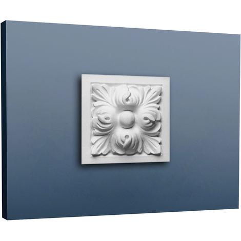 Encadrement de porte Orac Decor D210 LUXXUS Elément décoratif de stuc Motif feuilles d'acanthe | 9 x 9 cm