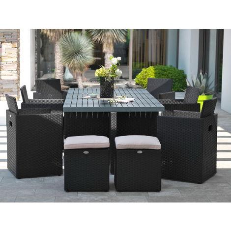 Salon de jardin en résine table 6 fauteuils 4 poufs