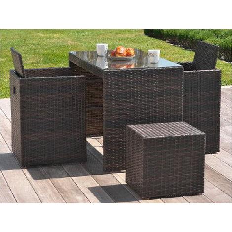 Salon de jardin en résine table 2 fauteuils 2 poufs