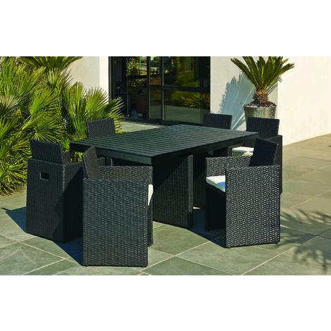 Encastrable 6P en résine tressée, plateau en bois composite : 1 table + 6 fauteuils